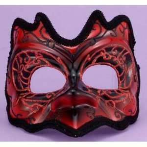Gras Red Venetian Masquerade Demon Half Mask Costume Toys & Games