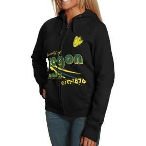 Ducks Ladies Black Retro Distressed Full Zip Hoody Sweatshirt (Small