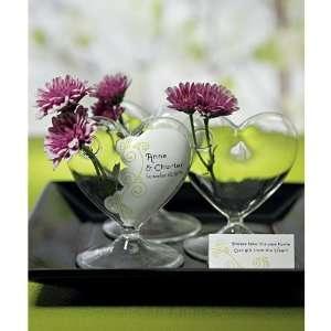 Miniature Clear Blown Glass Heart Vase (Set of 4) Kitchen