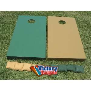 LIGHT GOLD & GREEN Mixed Solid Color Cornhole Bean Bag Toss Game