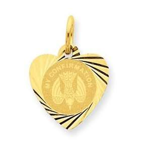14k Yellow Gold My Confirmation Heart Disc Charm Jewelry