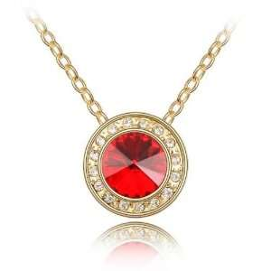 Red Crystal Gold Plated Necklace Pendant Used Swarovski Crystals