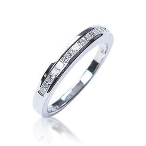 Princess Cut Diamond Half Eternity Ring in 18ct White Gold, Ring Size