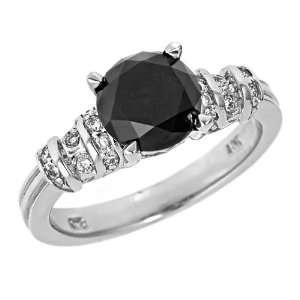 Fancy Black Round Diamond Engagement Ring Pave Set 14k White Gold(2 1