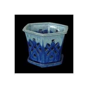 7 Sky Blue Hexagon Ceramic Orchid Pot Patio, Lawn