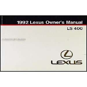 1992 Lexus LS 400 Owners Manual Original Lexus Books
