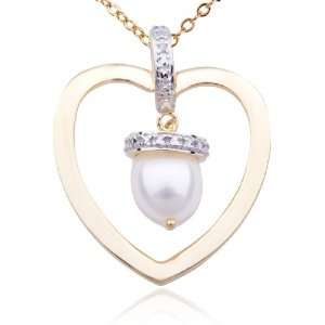 Silver Pearl and Diamond Accent Open Heart Pendant, 18 Jewelry