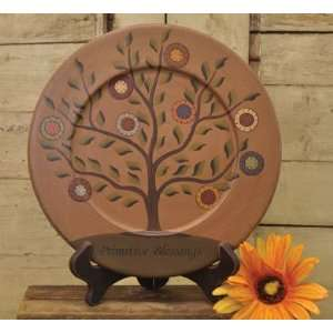 Plate & Stand   Primitive Blessings Tree   Country Rustic 9 1/2 Wood