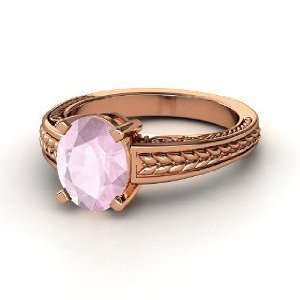 Oval Ceres Ring, Oval Rose Quartz 14K Rose Gold Ring Jewelry