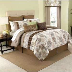 Jude Brown/Taupe/Gold Oversize Queen 8 Piece Complete Bed