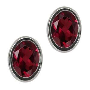 Ct Oval Red Garnet Sterling Silver bezel Stud Earrings 7x5mm Jewelry