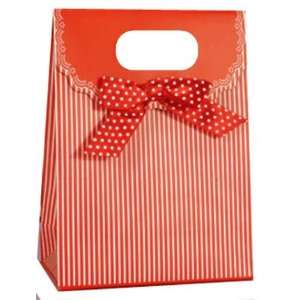Trendy Red & White Stripe Gift Bag with Polka Dot Ribbon