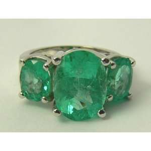 Colombian Emerald Three Stone Ring 14k White Gold