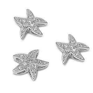 Sterling Silver & CZ Fine Starfish Earring & Necklace Set Jewelry