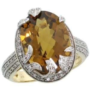 14k Gold Large Stone Ring, w/ 0.40 Carat Brilliant Cut Diamonds & 12
