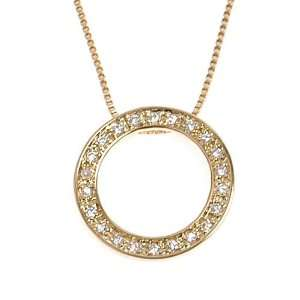 Silver Small CZ Cubic Zirconia Pave Eternity Circle Pendant Necklace