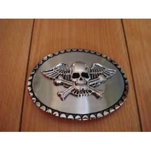 Skull Flying Crossbone Belt Buckle Beauty