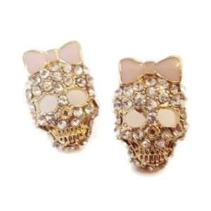 Crystal PINK Bow Skull Stud Earrings   Top Seller Jewelry