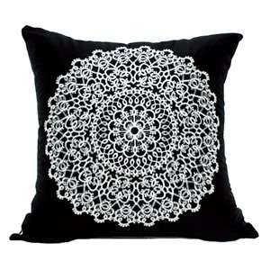20 X 20 Black & White Embroidered Throw Pillow Cover