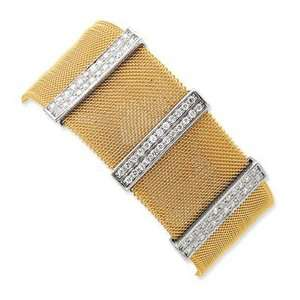 Jewelry Gift Stainless Steel & Sterling Silver Cz Gold Plated Mesh