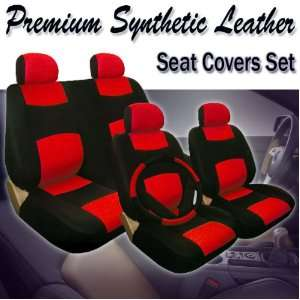 Car Seat Covers Set with Steering Wheel and Seat Belt Covers Red/black