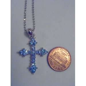 Silver and Blue Swarovski Crystal Cross Necklace