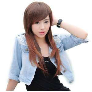 long Straight LIGHT BROWN Women Synthetic hair wig full wigs jf010278