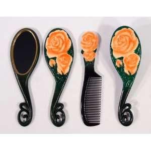 Orange Rose Flower Hair Brush Mirrow Comb Set (Set of 3) Beauty