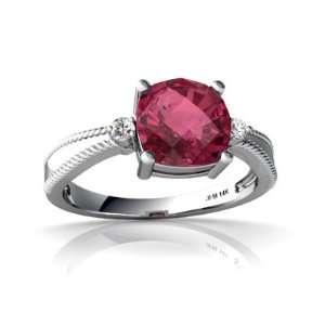 14K White Gold Cushion Genuine Pink Tourmaline Ring Size 6.5 Jewelry