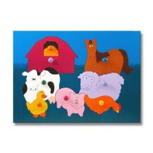 Wooden Puzzle with Pegs Farm Animals Toys & Games