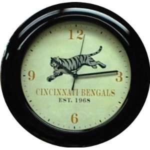 Cincinnati Bengals Mahogany Wood Frame Wall Clock  Sports