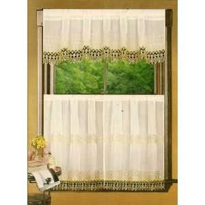 Cindy 36L Tier and Valance Set White/Gold:  Home & Kitchen
