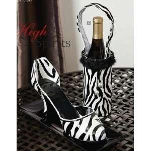 Zebra High Heel Wine Holder