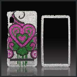 Bleeding Hearts on Pink Cristalina crystal rhinestone bling case