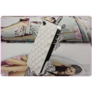 Hot Luxury Designer Quilted Leather Chrome Case Cover for Apple iPhone