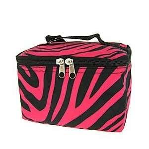 Cute Cosmetic Makeup Bag Case Zebra Print Hot Pink Black Small