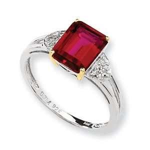 Sterling Silver & 14k Gold Crimson Red Topaz Diamond Ring