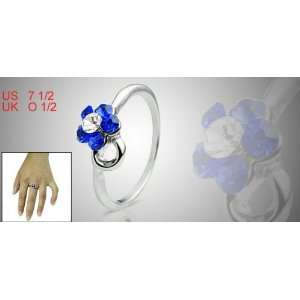 Royal Blue Flower Rhinestone Silver Tone Finger Jewelry Ring Jewelry