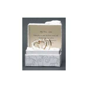 True Love, Glass Wedding Ring Figurine in Silk Gift Box