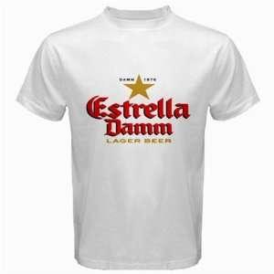 Estrella Damm Beer Logo New White T shirt Size 3XL