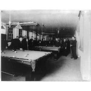 Pool room,ship & tent club,sailors shooting pool,United States Navy