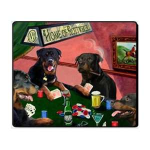 4 Dogs Playing Poker Rottweiler Mousepad: Home & Kitchen