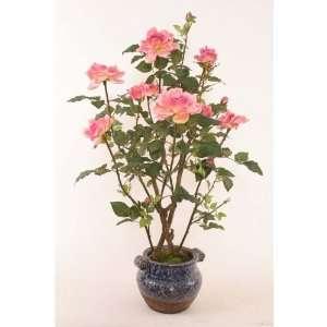 Dark Pink Faux Rose Bush in ceramic pot