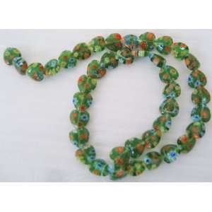 10mm Green Heart Millefiori Glass Beads 15 Everything
