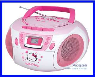 PORTABLE BOOMBOX AM FM RADIO CD CASSETTE PLAYER PINK