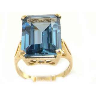 Gold Large 16x12 Synthetic Aquamarine Ring   Yellow Gold Rings   Gold