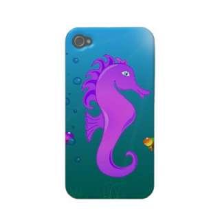 Cute Purple Cartoon Seahorse in Underwater Scene Iphone 4 Covers from