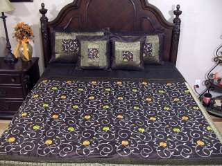 5p Floral Embroidery Indian Bedding Luxury Bedspread