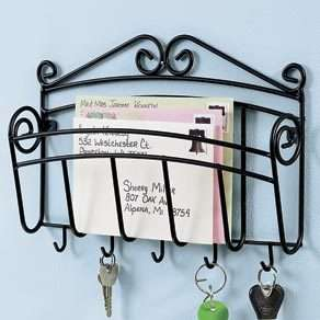 iron wall mount mail Letter Magazine Key holder hook office organizer