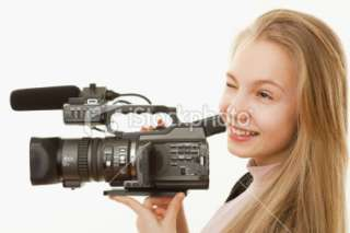 Real Teenage Girl, Camera Operator Royalty Free Stock Photo